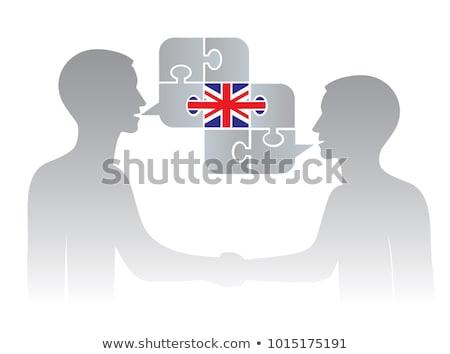 Twee mensen witte groot-brittannië Italië vlaggen Stockfoto © evgeny89