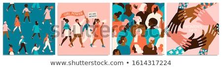 Feminismo vermelho homem mulher balança menina Foto stock © timbrk