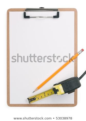 acél · vonalzó · fa · ceruza · fehér · ház - stock fotó © backyardproductions