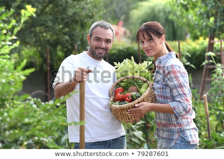 Couple stood in garden with vegetables Stock photo © photography33