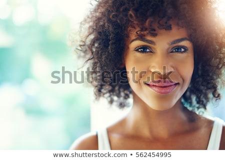 bastante · mulher · negra · retrato · isolado · jovem · feliz - foto stock © pablocalvog