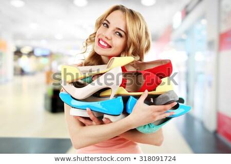 Portré nő cipő pénz lány arc Stock fotó © konradbak