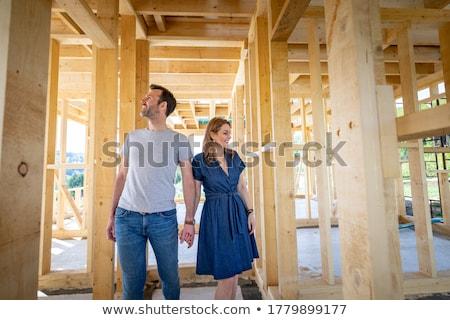 építész · pár · fiatal · otthon · tulajdonos · visel - stock fotó © photography33
