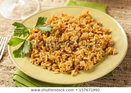 Espanol arroz salsa primer plano ajo Foto stock © bendicks