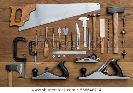 tools · houten · vliegtuig · heerser · hamer · ondiep - stockfoto © williv