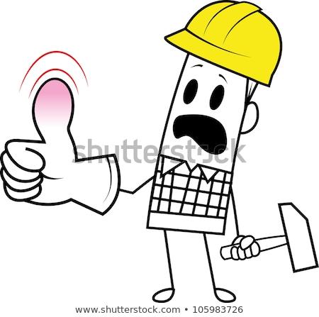 Desajeitado construtor engraçado cabeça quebrado mecânico Foto stock © photography33