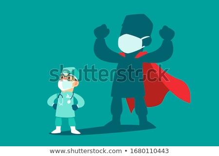 Desenho animado herói misterioso disfarçar máscara Foto stock © blamb