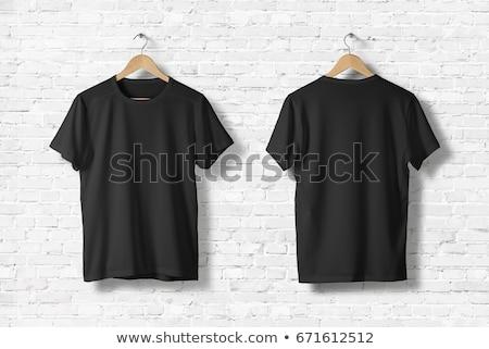 vrouw · zwarte · tshirt · shot · mode · Maakt · een · reservekopie - stockfoto © sumners