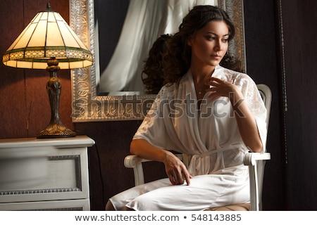 piękna · kobieta · sofa · szkła · wina · strony · strony - zdjęcia stock © pilgrimego