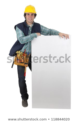 Carpenter stood by blank panel Stock photo © photography33