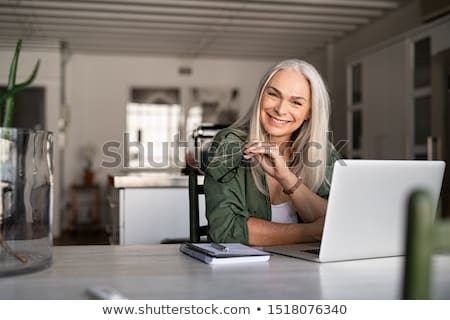 oude · dame · ontspannen · schommelstoel · home · portret - stockfoto © photography33