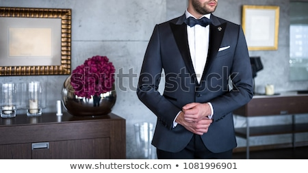 Vőlegény csokornyakkendő kaukázusi karok a magasban levegő házasság Stock fotó © iofoto