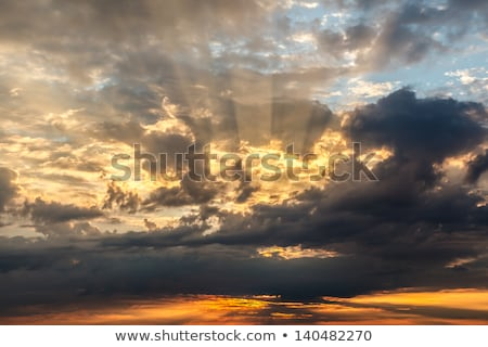 Dramatic Sunset with Red and Gold Clouds near Genoa, Italy Stock photo © anshar