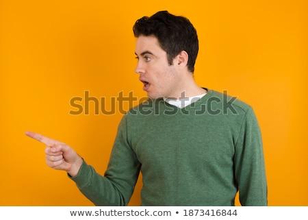 Férfi karok felfelé rázkódás meglepetés mutat Stock fotó © stuartmiles