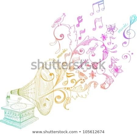 Bağbozumu gramofon plâkçalar süs güzel Stok fotoğraf © Elmiko
