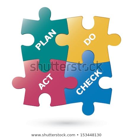 Mavi puzzle parçaları iş yazılı turuncu çalışmak Stok fotoğraf © tashatuvango