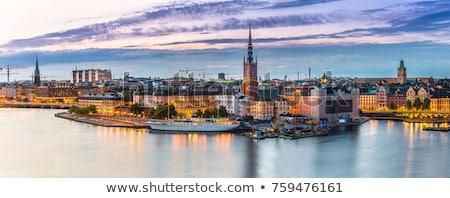 Noc widoku Sztokholm starych Night City miasta Zdjęcia stock © mikdam