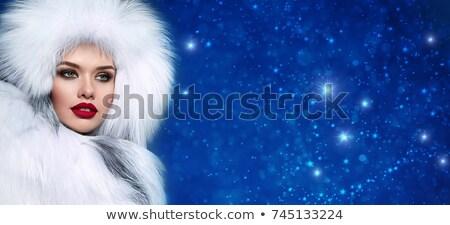 gyönyörű · lány · szőrös · kalap · tél · nő · portré · divat - stock fotó © pxhidalgo