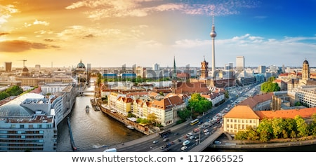 Sziluett Berlin légi madár szem kilátás Stock fotó © inarts