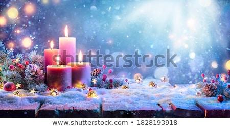 égő gyertya advent koszorú fény narancs Stock fotó © haraldmuc