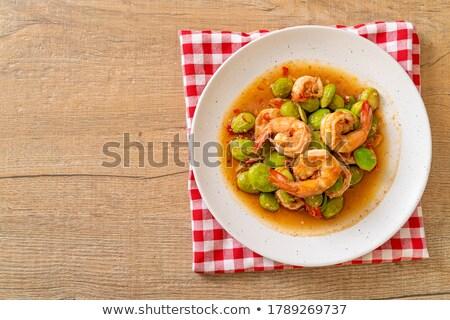 stir fried stink beans with shrimp stock photo © smuay