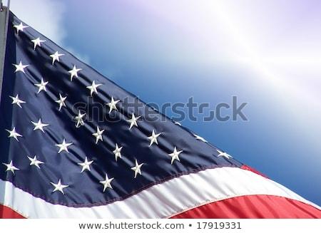 Amerikaanse vlag briljant blauwe hemel voorjaar gras Stockfoto © meinzahn