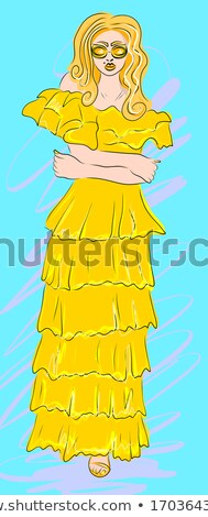 Beautiful blond girl in golden dress on abstract background Stock photo © Nejron
