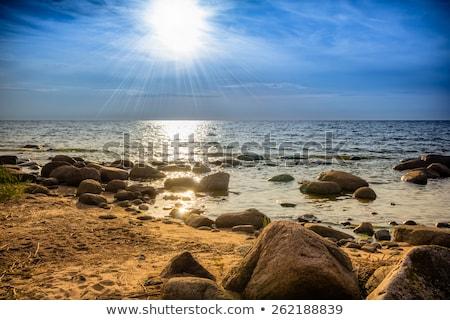 Humeurig hemel strand zee achtergrond Blauw Stockfoto © Nejron
