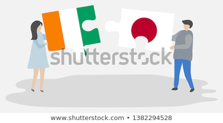 Japán Elefántcsontpart zászlók puzzle izolált fehér Stock fotó © Istanbul2009