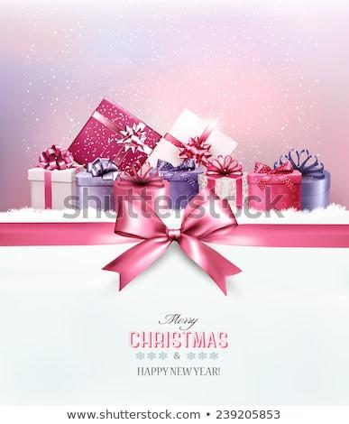Fényűző ajándék jegyzet izolált fehér arany Stock fotó © natika