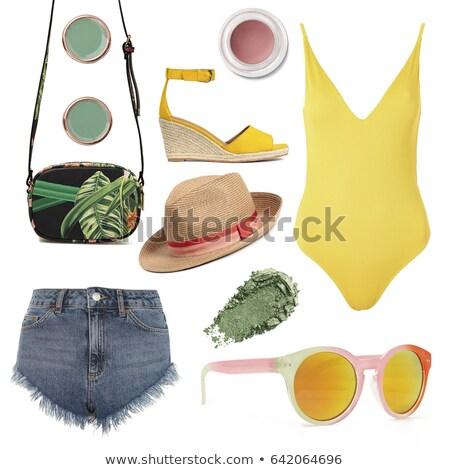 férias · natação · mulher · isolado · óculos · de · proteção · snorkel - foto stock © artjazz