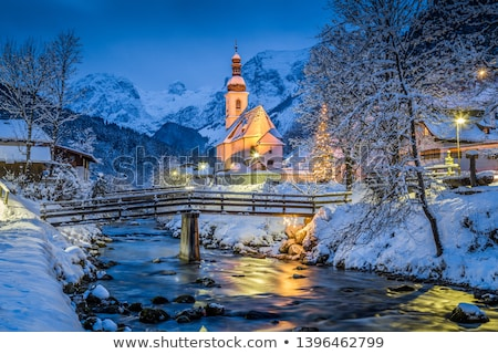 montagne · église · alpine · village · vue - photo stock © 1Tomm