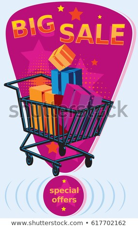 big sale with shopping cart sign sticker label stock photo © marinini