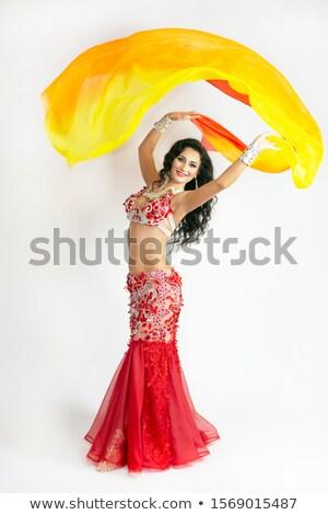 narancs · has · táncos · nő · tánc · ruha - stock fotó © novic