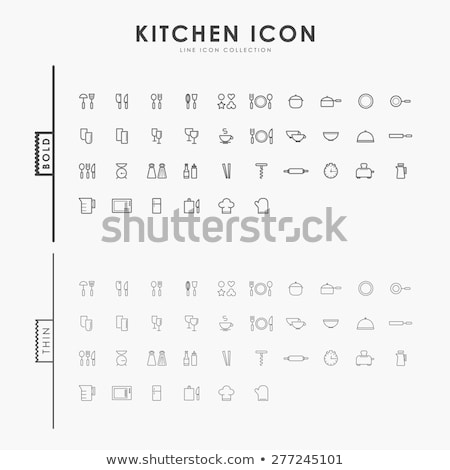 Plate spoon and fork icon on set glass button stock photo © aliaksandra