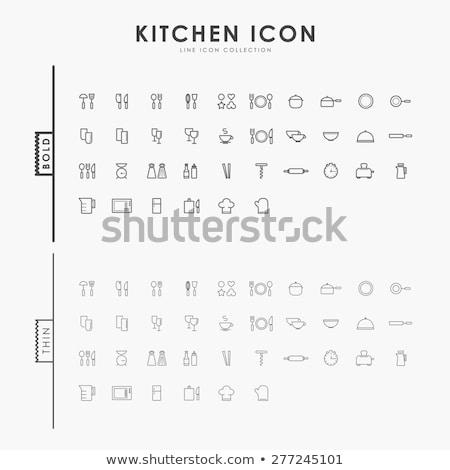 Tablicy łyżka widelec szkła przycisk Zdjęcia stock © aliaksandra