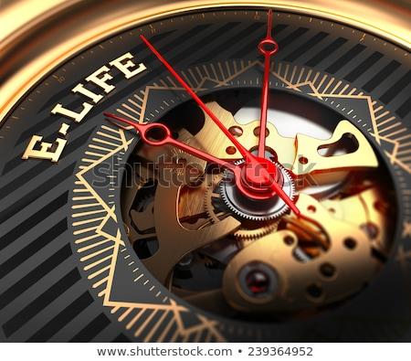 E-Life on Black-Golden Watch Face.  Stock photo © tashatuvango