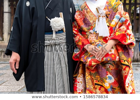 Visel hagyományos kimonó illusztráció lány sziluett Stock fotó © adrenalina