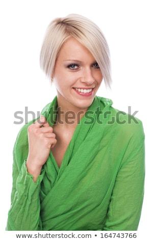 халат · женщину · Солнечный · окна · белый · шторы - Сток-фото © dash