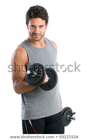 musculaire · homme · haltères · gymnase · torse · nu - photo stock © nejron