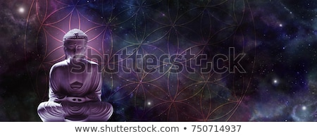 meditando · buda · estátua · bronze · sessão · posição - foto stock © hofmeester