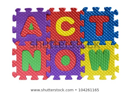 Act - White Word on Blue Puzzles. Stock photo © tashatuvango
