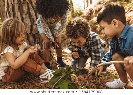 Girl examining leaves with magnifying glass at park Stock photo © wavebreak_media