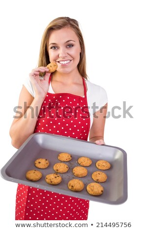 mujer · cookies · aislado · bandeja - foto stock © wavebreak_media