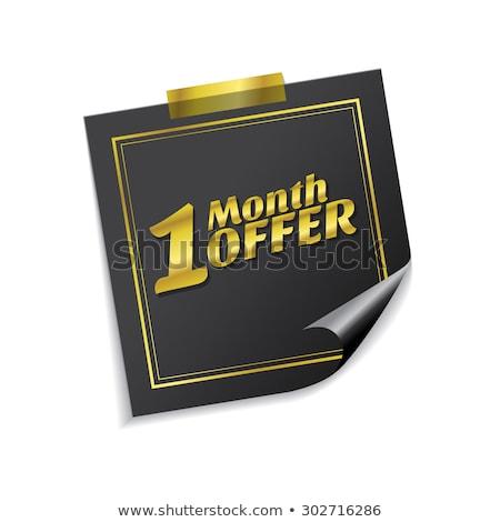 1 maand bieden gouden sticky notes vector icon Stockfoto © rizwanali3d