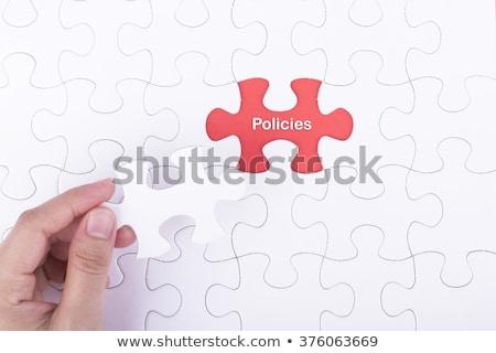 Budget puzzel plaats vermist stukken tekst Stockfoto © tashatuvango
