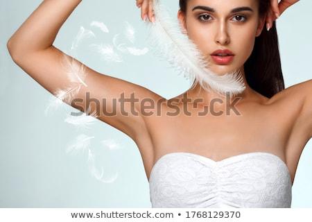 Jonge mooie brunette oksel vrouw natuur Stockfoto © konradbak