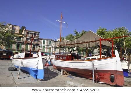 Mallorca kikötő kikötő fából készült hajók tipikus Stock fotó © lunamarina