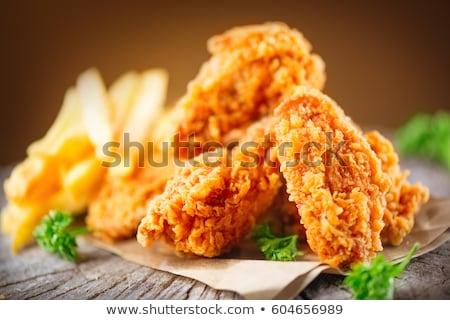 frango · assado · servido · tabela · frango · pele · gordura - foto stock © tatiana3337