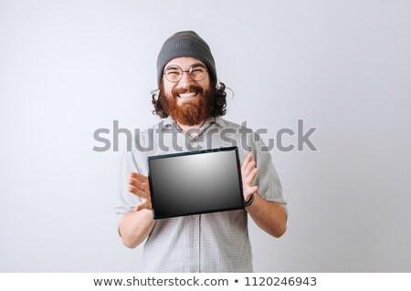 男 あごひげ 長髪 見える 肖像 深刻 ストックフォト © deandrobot